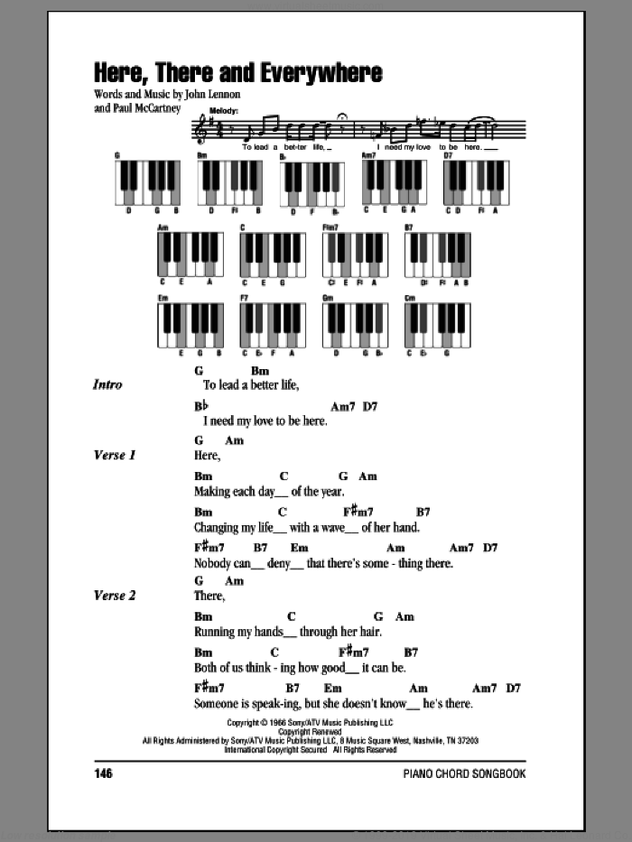 Here, There And Everywhere sheet music for piano solo (chords, lyrics, melody) by Paul McCartney, The Beatles and John Lennon. Score Image Preview.