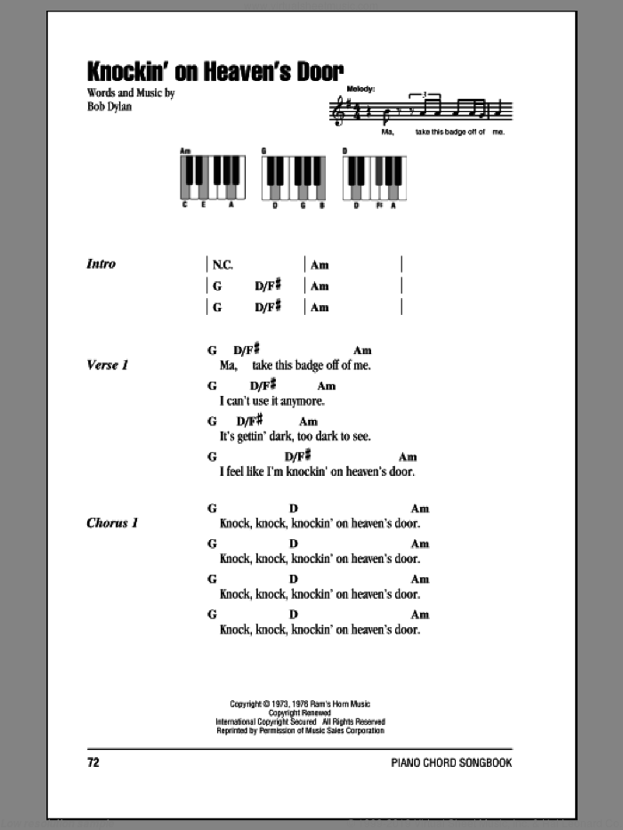 Knockin' On Heaven's Door sheet music for piano solo (chords, lyrics, melody) by Bob Dylan. Score Image Preview.