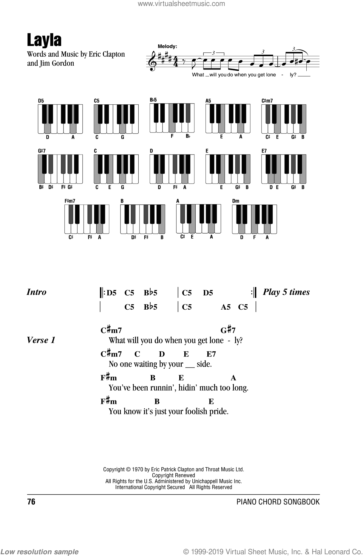 Layla sheet music for piano solo (chords, lyrics, melody) by Jim Gordon and Eric Clapton. Score Image Preview.