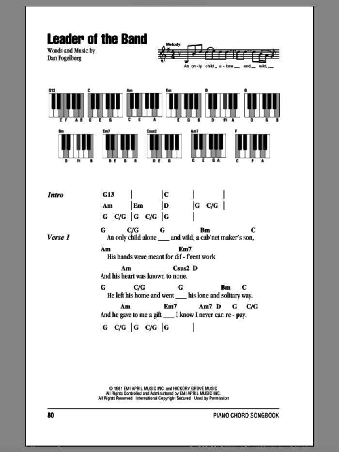 Leader Of The Band sheet music for piano solo (chords, lyrics, melody) by Dan Fogelberg. Score Image Preview.