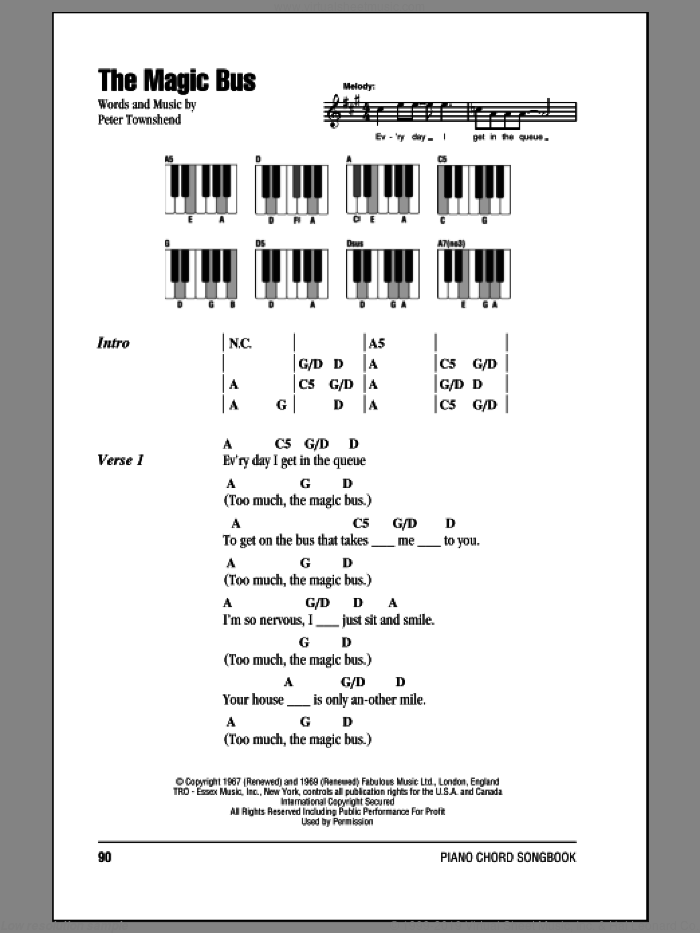 The Magic Bus sheet music for piano solo (chords, lyrics, melody) by The Who and Pete Townshend. Score Image Preview.