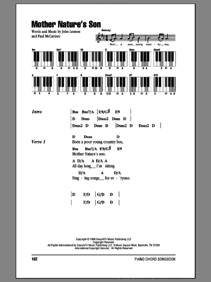 Mother Nature's Son sheet music for piano solo (chords, lyrics, melody) by Paul McCartney, The Beatles and John Lennon. Score Image Preview.