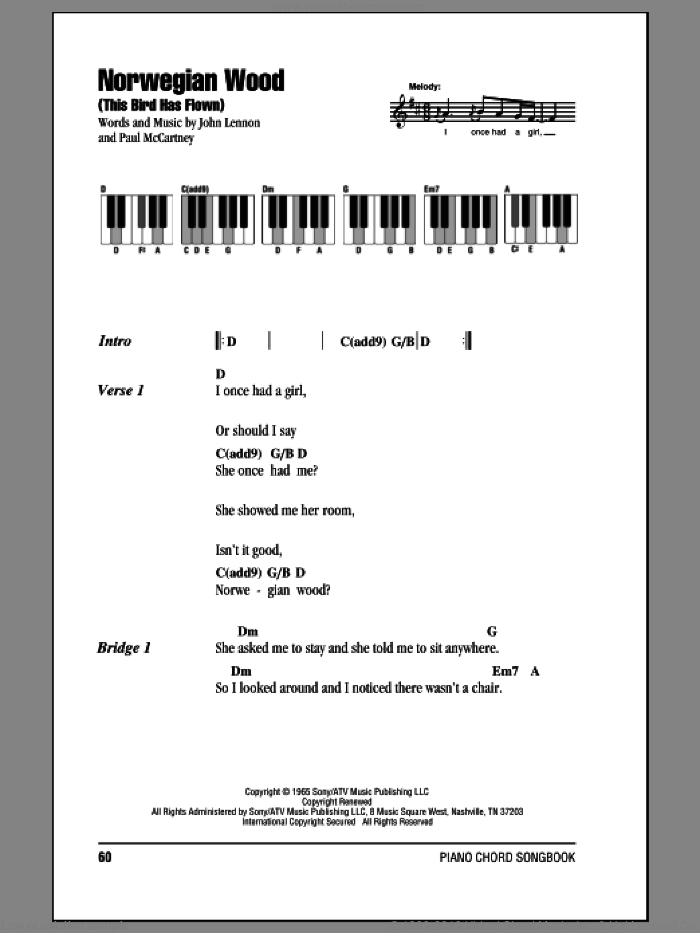 Norwegian Wood (This Bird Has Flown) sheet music for piano solo (chords, lyrics, melody) by The Beatles, John Lennon and Paul McCartney. Score Image Preview.