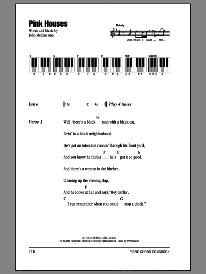 Pink Houses sheet music for piano solo (chords, lyrics, melody) by John Mellencamp, intermediate piano (chords, lyrics, melody)
