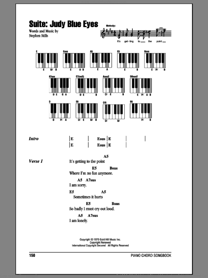 Suite: Judy Blue Eyes sheet music for piano solo (chords, lyrics, melody) by Crosby, Stills & Nash and Stephen Stills. Score Image Preview.