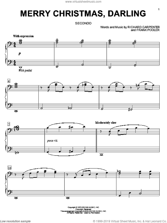 Merry Christmas, Darling sheet music for piano four hands by Carpenters, Frank Pooler and Richard Carpenter, intermediate skill level