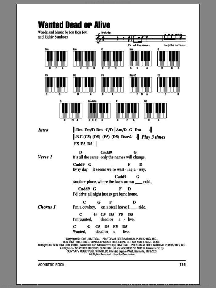 Wanted Dead Or Alive sheet music for piano solo (chords, lyrics, melody) by Bon Jovi and Richie Sambora, intermediate piano (chords, lyrics, melody)