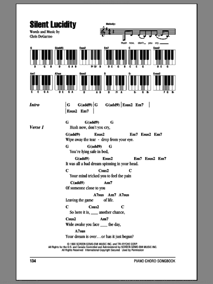 Silent Lucidity sheet music for piano solo (chords, lyrics, melody) by Queensryche and Chris DeGarmo, intermediate piano (chords, lyrics, melody)