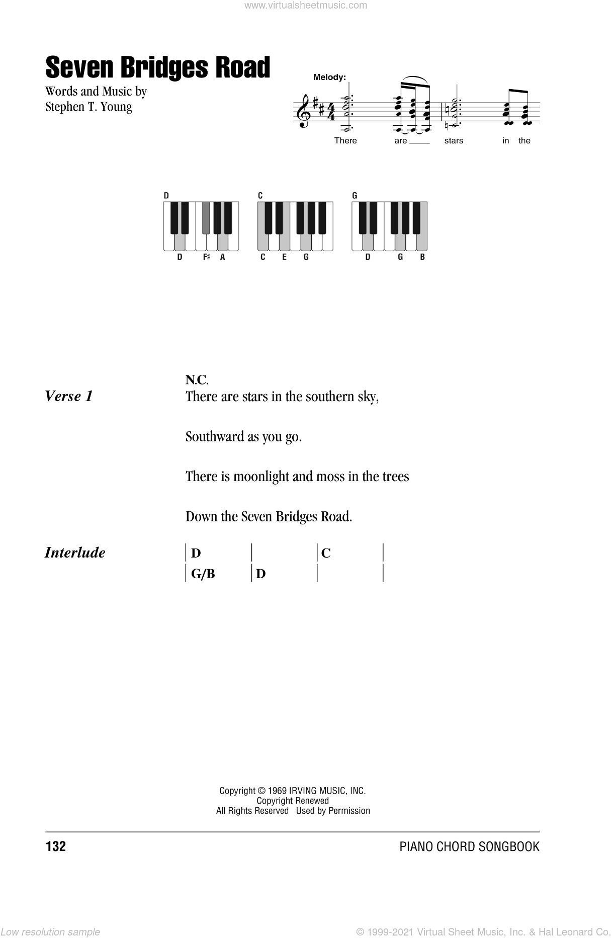 Seven Bridges Road sheet music for piano solo (chords, lyrics, melody) by Stephen T. Young and Eagles. Score Image Preview.