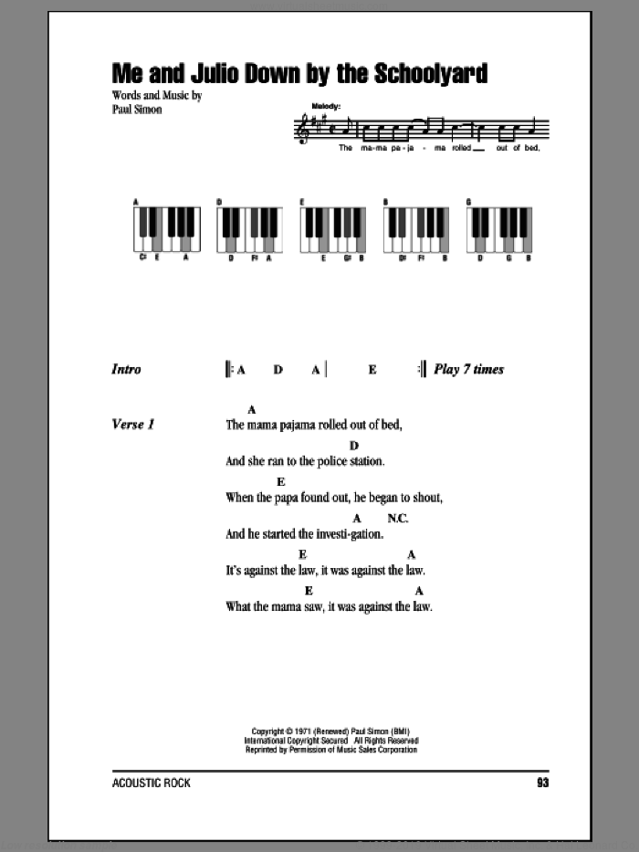 Me And Julio Down By The Schoolyard sheet music for piano solo (chords, lyrics, melody) by Paul Simon and Simon & Garfunkel. Score Image Preview.