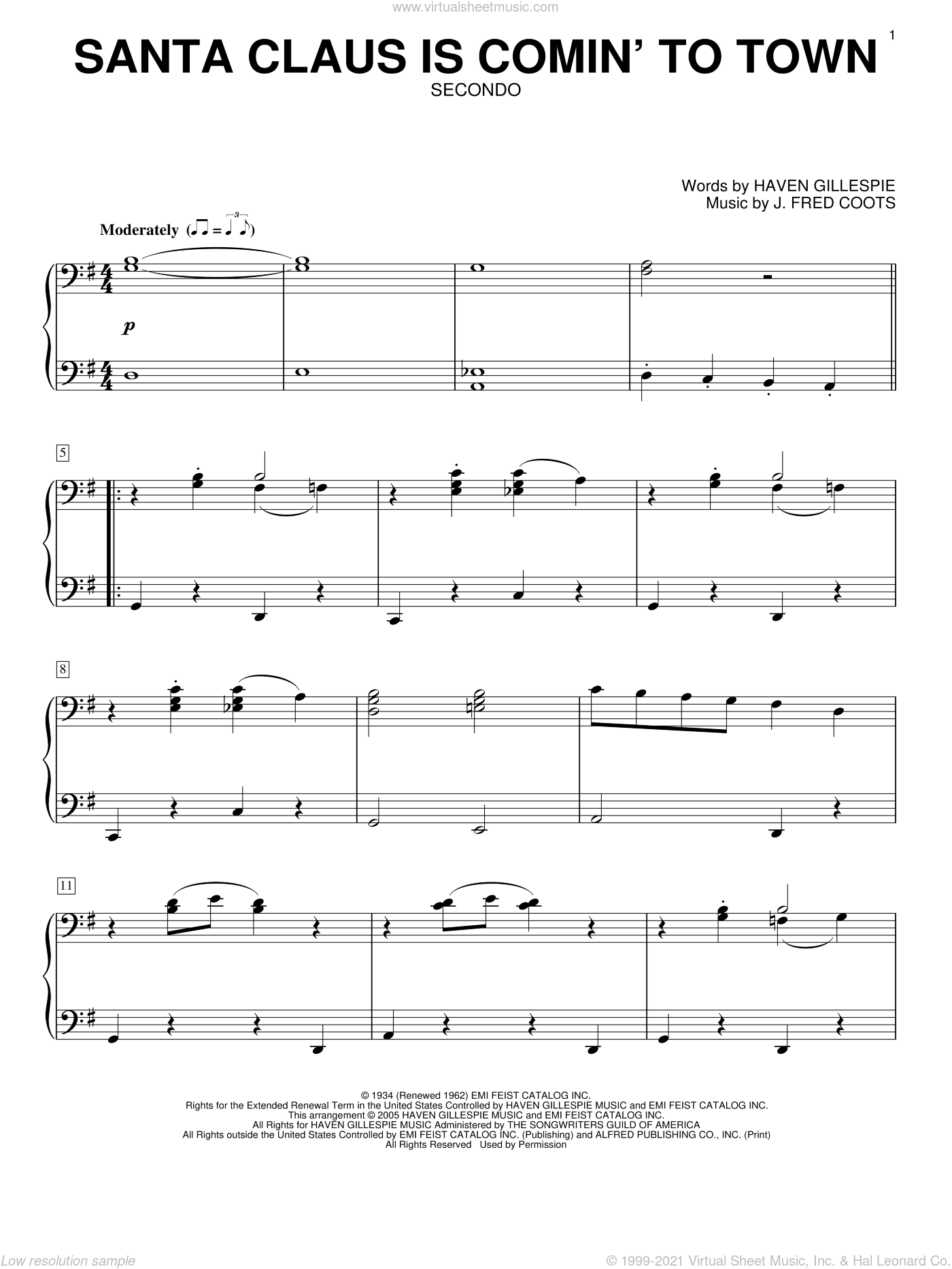 Santa Claus Is Comin' To Town sheet music for piano four hands by J. Fred Coots and Haven Gillespie, intermediate skill level