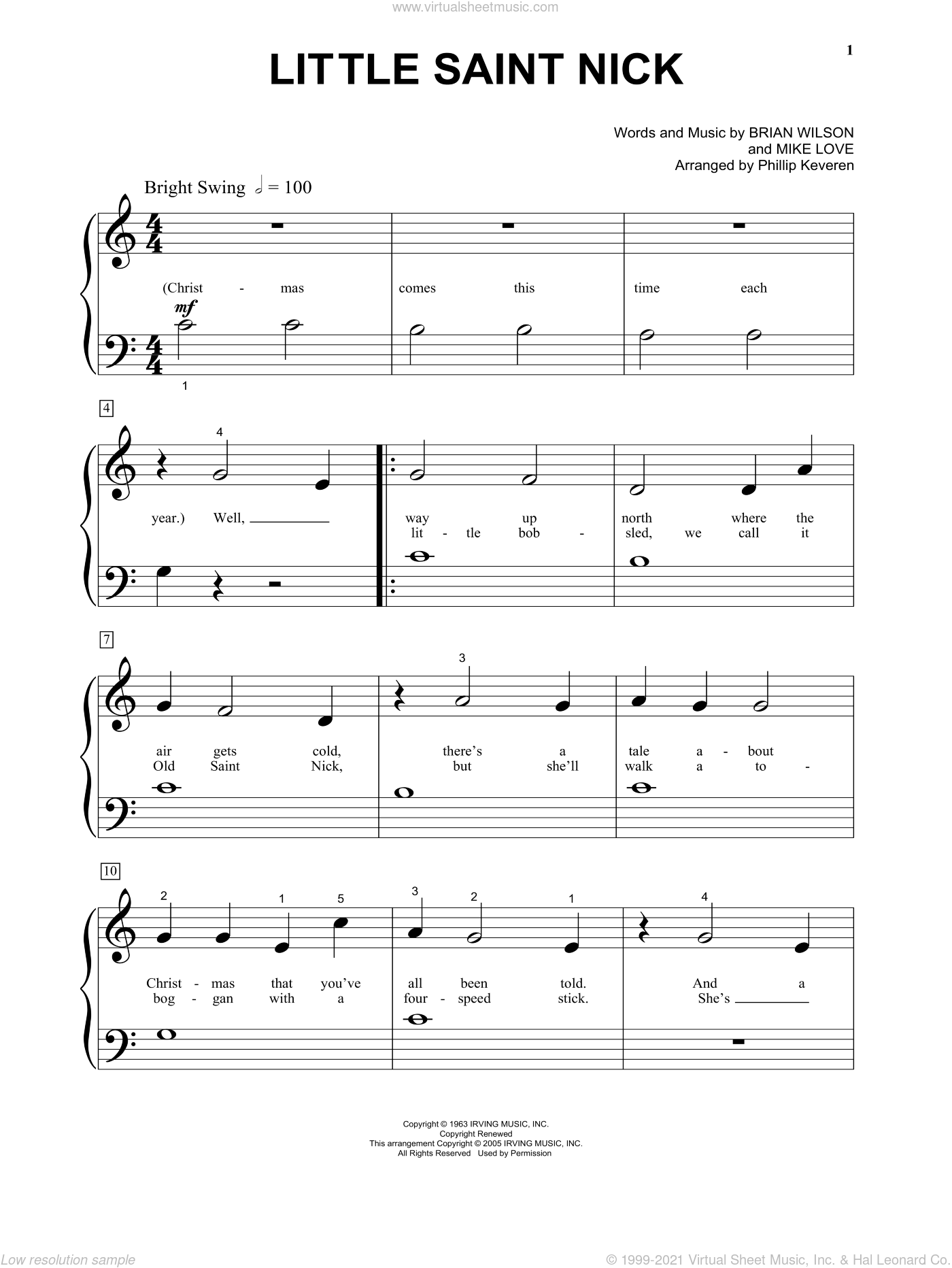 Little Saint Nick sheet music for piano solo (big note book) by Mike Love, Phillip Keveren, The Beach Boys and Brian Wilson. Score Image Preview.