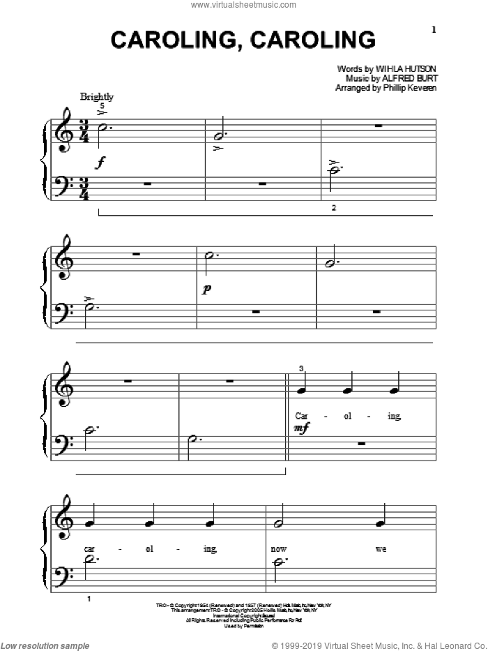 Caroling, Caroling sheet music for piano solo (big note book) by Wihla Hutson