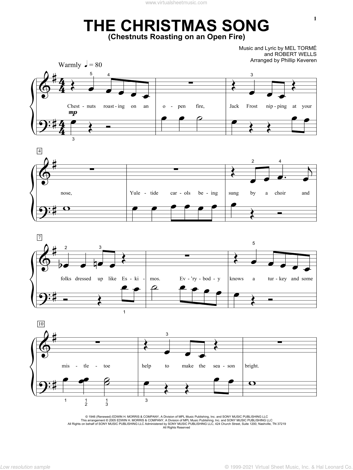 The Christmas Song (Chestnuts Roasting On An Open Fire) sheet music for piano solo (big note book) by Robert Wells, Phillip Keveren and Mel Torme. Score Image Preview.