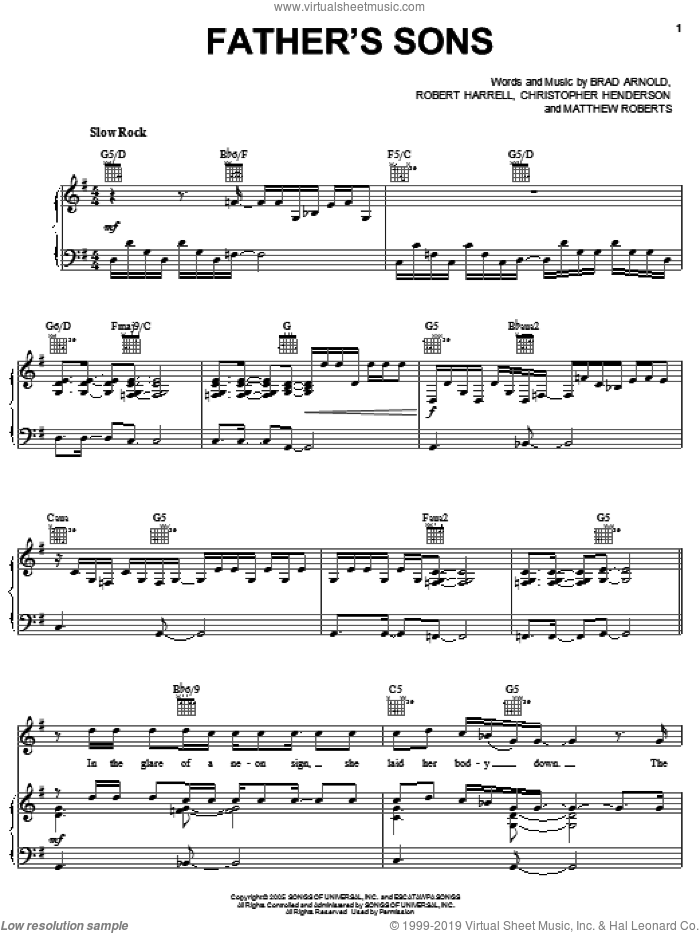 Father's Sons sheet music for voice, piano or guitar by 3 Doors Down, Brad Arnold, Christopher Henderson, Matthew Roberts and Robert Harrell, intermediate skill level