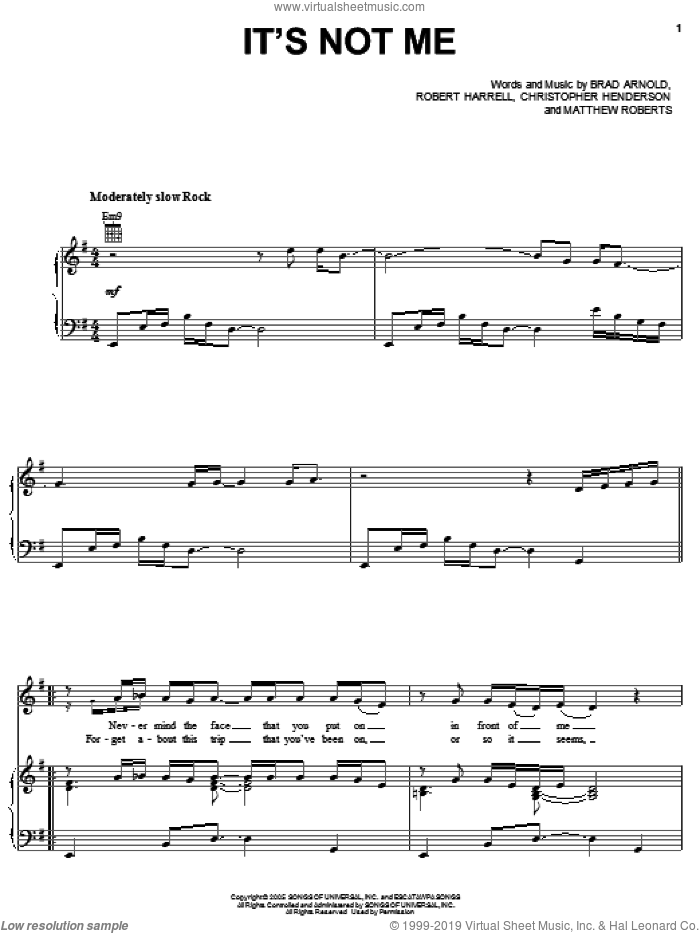 It's Not Me sheet music for voice, piano or guitar by 3 Doors Down, Brad Arnold, Christopher Henderson, Matthew Roberts and Robert Harrell, intermediate skill level