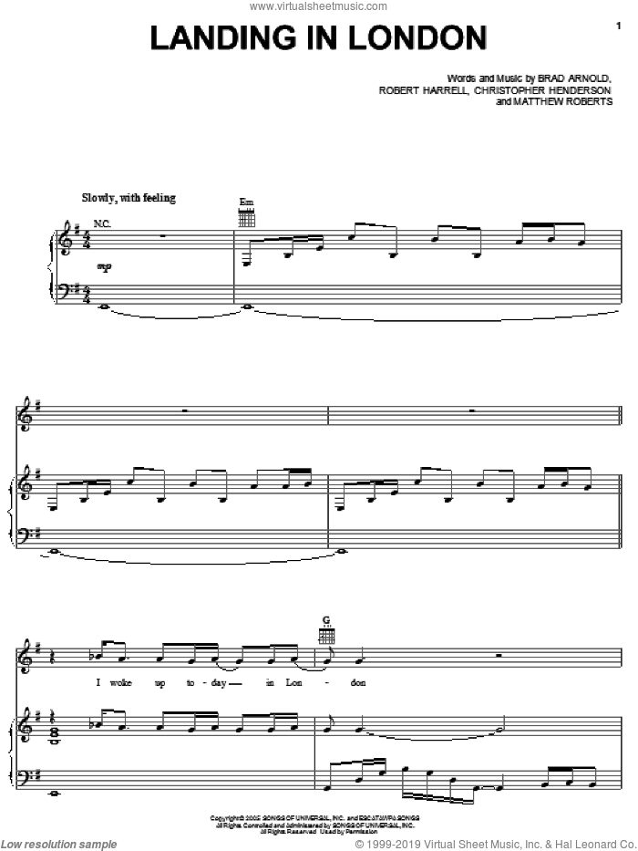 Landing In London sheet music for voice, piano or guitar by 3 Doors Down, Brad Arnold, Christopher Henderson, Matthew Roberts and Robert Harrell, intermediate skill level