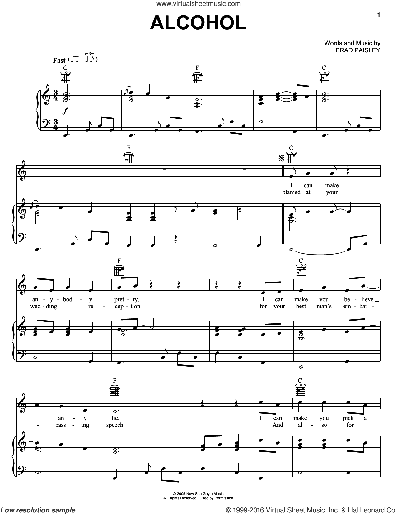 Alcohol sheet music for voice, piano or guitar by Brad Paisley, intermediate skill level