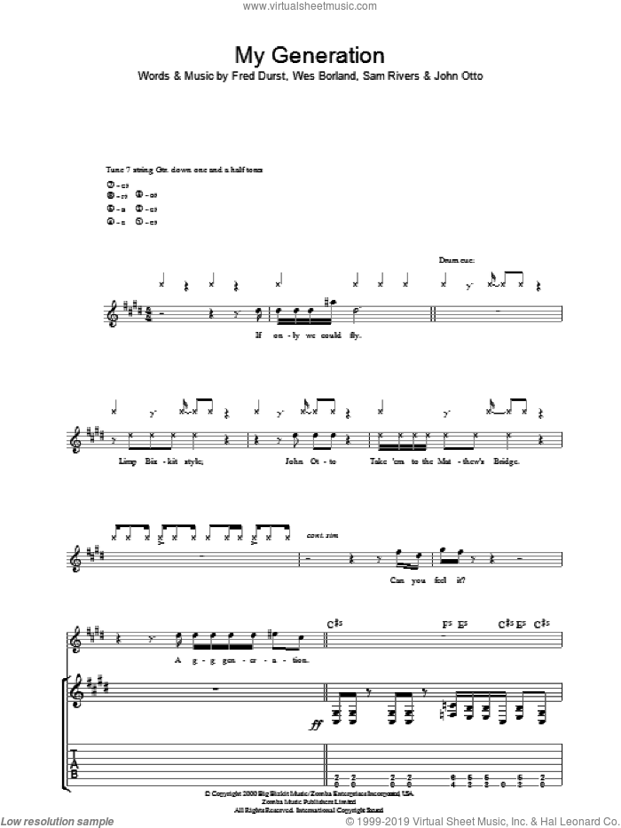 My Generation sheet music for guitar (tablature) by Limp Bizkit, Fred Durst, John Otto, Sam Rivers and Wes Borland, intermediate. Score Image Preview.