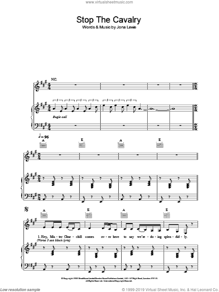 Stop The Cavalry sheet music for voice, piano or guitar by Jona Lewie, intermediate skill level