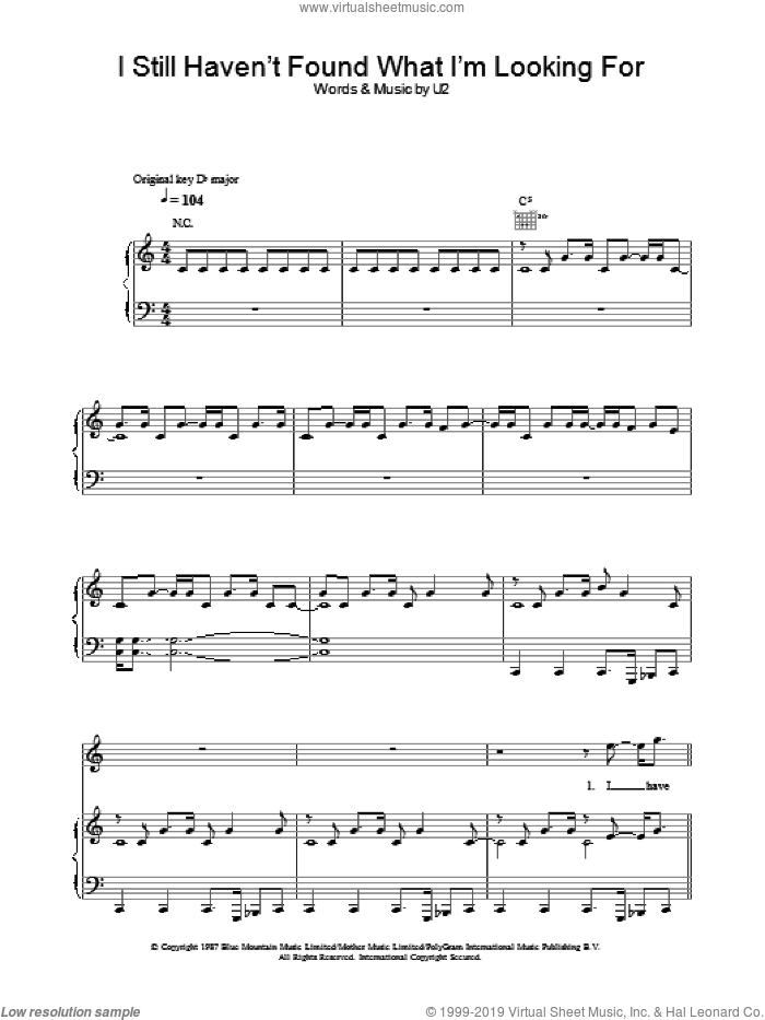 I Still Haven't Found What I'm Looking For sheet music for voice, piano or guitar by The Edge