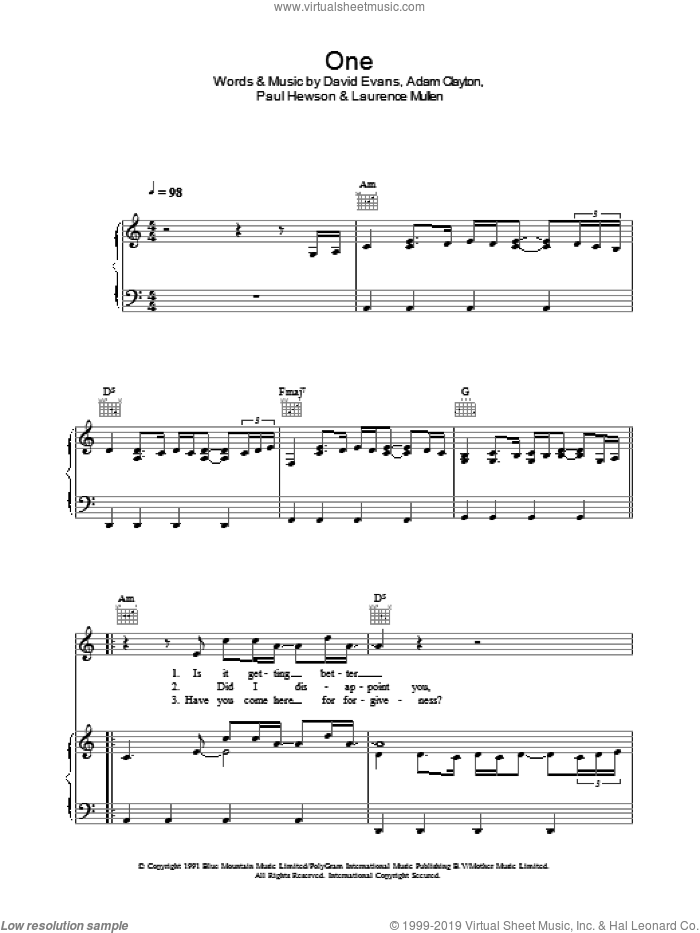 One sheet music for voice, piano or guitar by U2, Johnny Cash, Adam Clayton, David Evans, Laurence Mullen and Paul Hewson, intermediate skill level