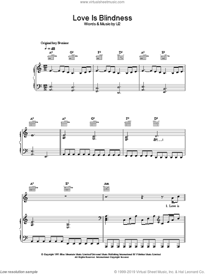 Love Is Blindness sheet music for voice, piano or guitar by U2, intermediate. Score Image Preview.