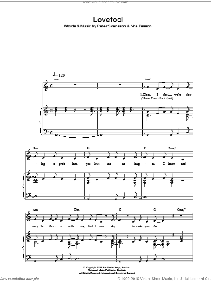 Lovefool sheet music for voice, piano or guitar by Peter Svensson, The Cardigans and Nina Persson. Score Image Preview.