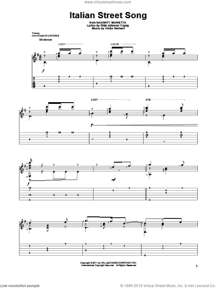 Italian Street Song sheet music for guitar solo by Victor Herbert and Rida Johnson Young. Score Image Preview.