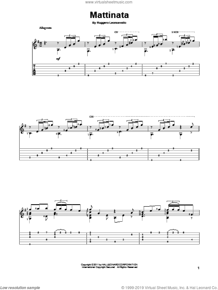 Mattinata sheet music for guitar solo by Ruggero Leoncavallo. Score Image Preview.