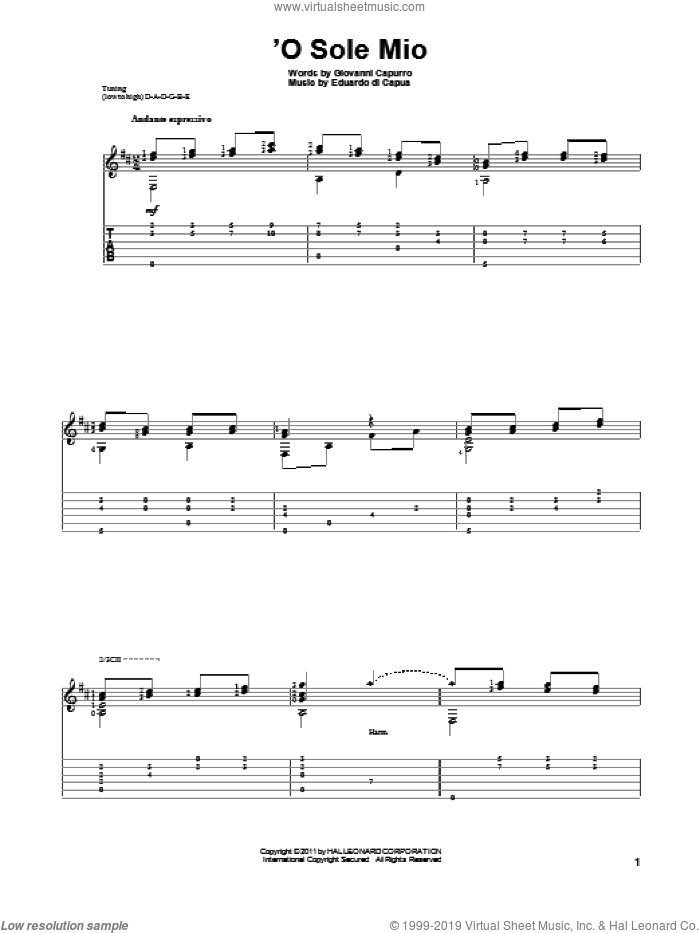 'O Sole Mio sheet music for guitar solo by Giovanni Capurro. Score Image Preview.