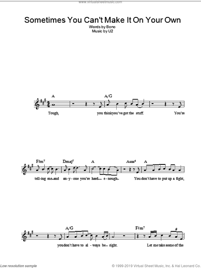 Sometimes You Can't Make It On Your Own sheet music for voice and other instruments (fake book) by U2 and Bono, intermediate