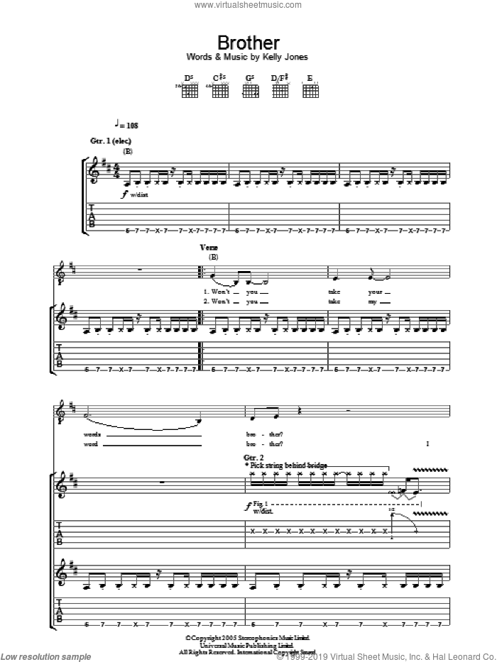 Brother sheet music for guitar (tablature) by Stereophonics. Score Image Preview.