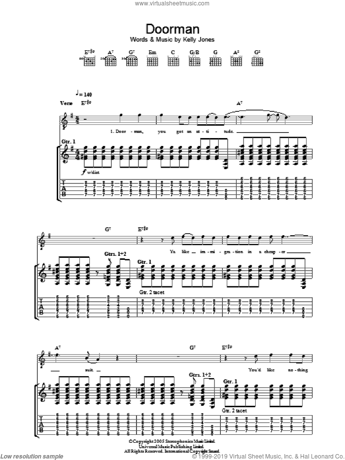 Doorman sheet music for guitar (tablature) by Stereophonics, intermediate. Score Image Preview.