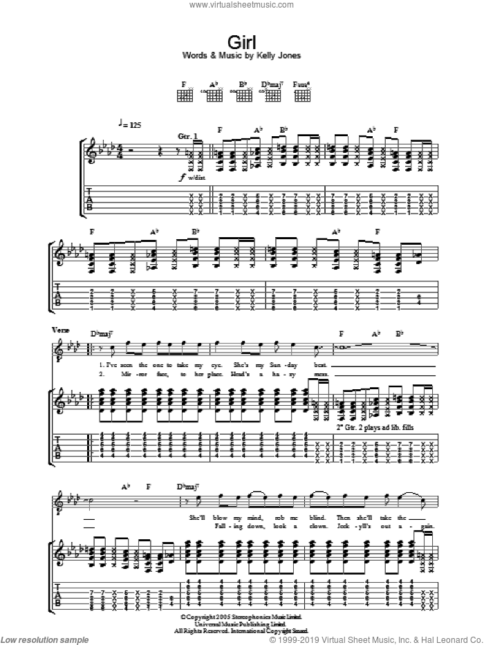 Girl sheet music for guitar (tablature) by Kelly Jones and Stereophonics. Score Image Preview.