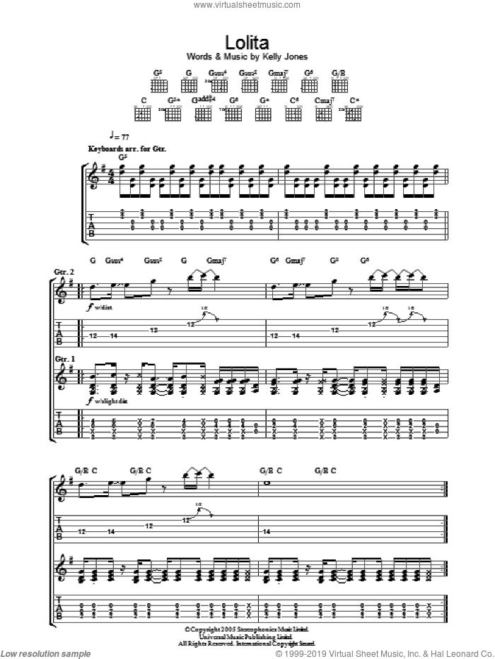 Lolita sheet music for guitar (tablature) by Kelly Jones and Stereophonics. Score Image Preview.