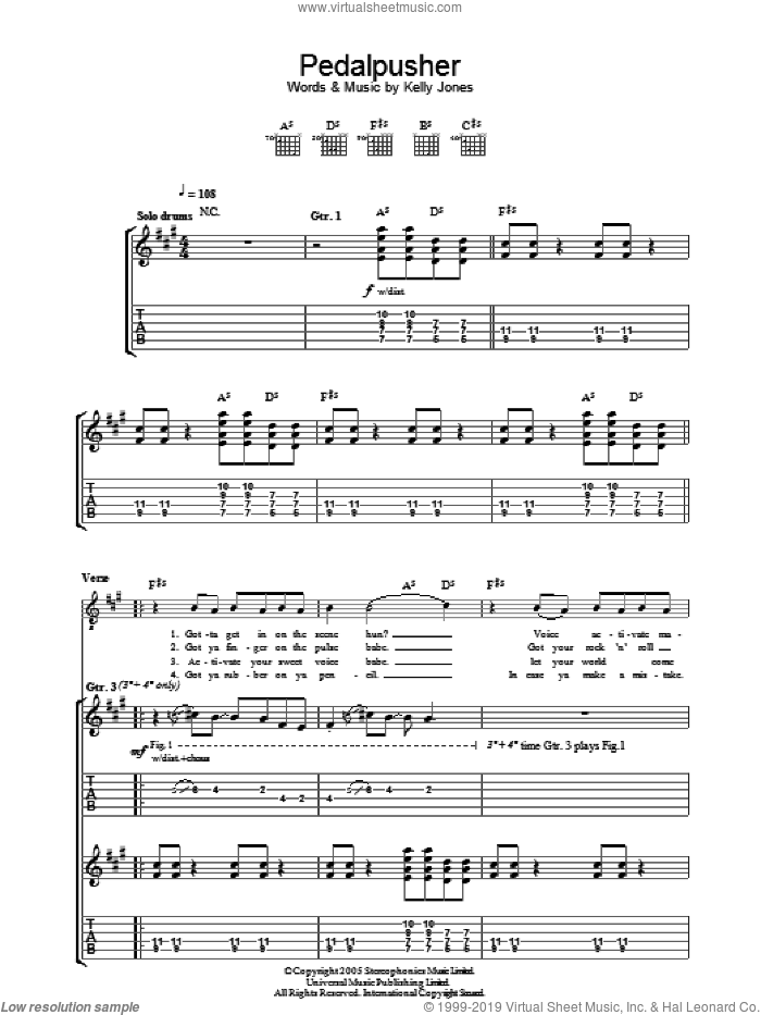 Pedalpusher sheet music for guitar (tablature) by Stereophonics, intermediate guitar (tablature). Score Image Preview.