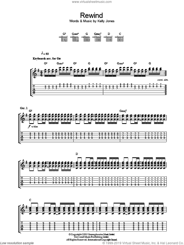 Rewind sheet music for guitar (tablature) by Stereophonics, intermediate guitar (tablature). Score Image Preview.