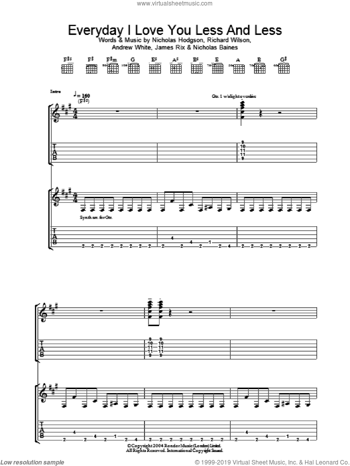 Everyday I Love You Less And Less sheet music for guitar (tablature) by Richard Wilson