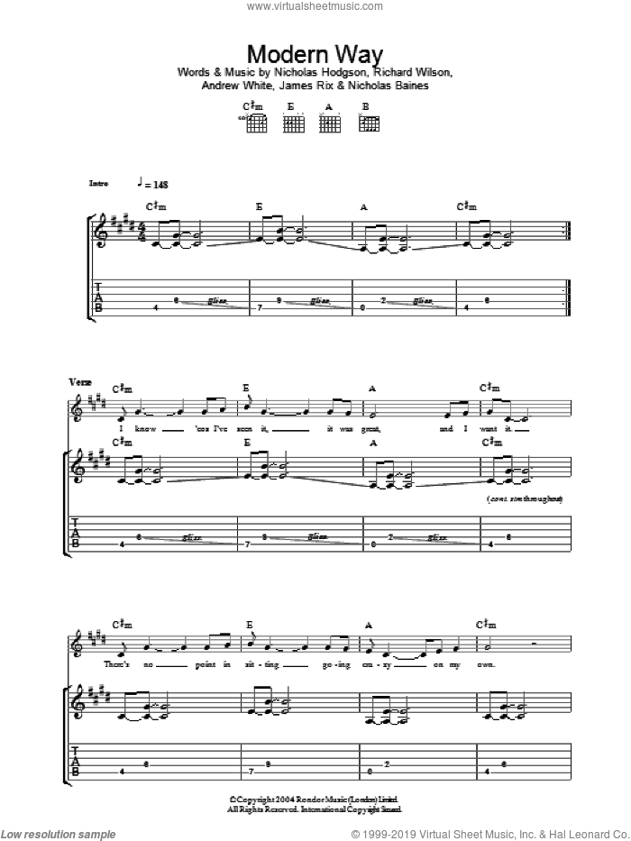 Modern Way sheet music for guitar (tablature) by Richard Wilson