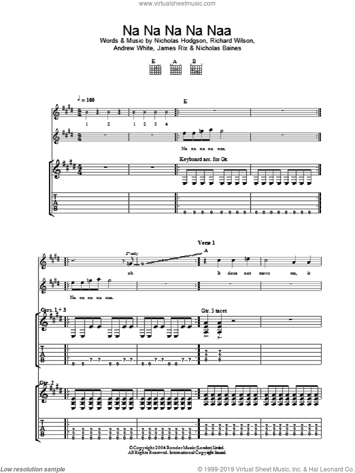 Na Na Na Na Naa sheet music for guitar (tablature) by Richard Wilson