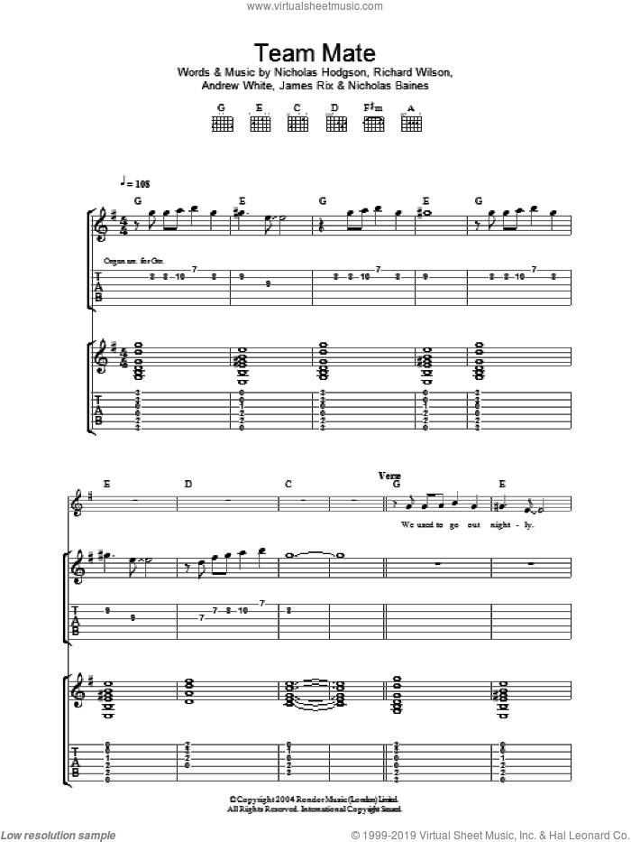 Team Mate sheet music for guitar (tablature) by Kaiser Chiefs, intermediate. Score Image Preview.