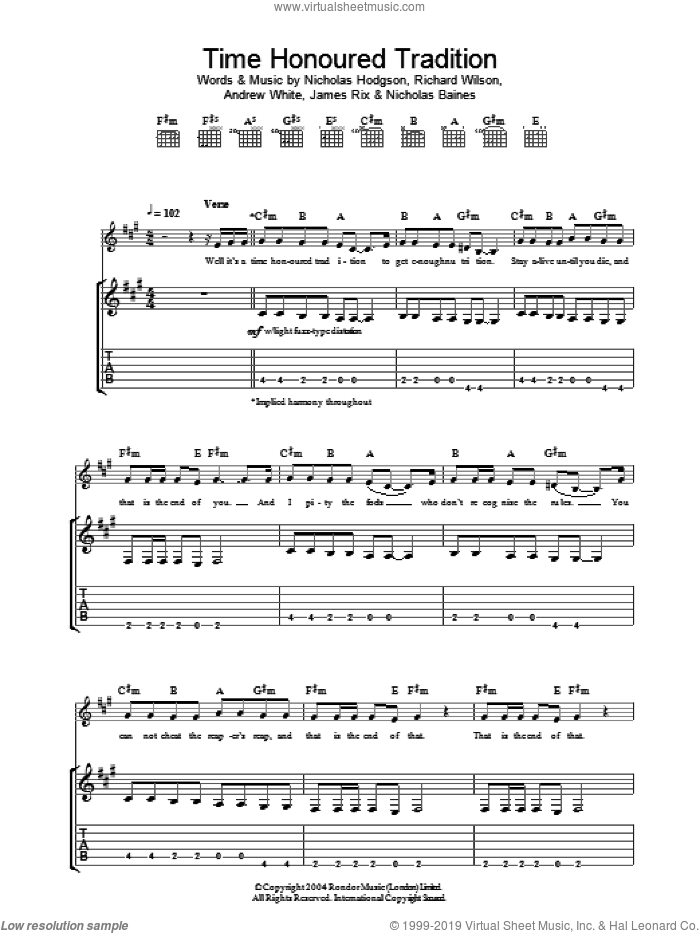 Time Honoured Tradition sheet music for guitar (tablature) by Kaiser Chiefs, intermediate. Score Image Preview.