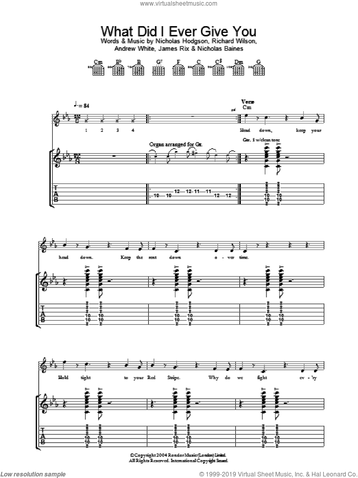 What Did I Ever Give You? sheet music for guitar (tablature) by Kaiser Chiefs, Andrew White, James Rix, Nicholas Baines, Nicholas Hodgson and Richard Wilson, intermediate