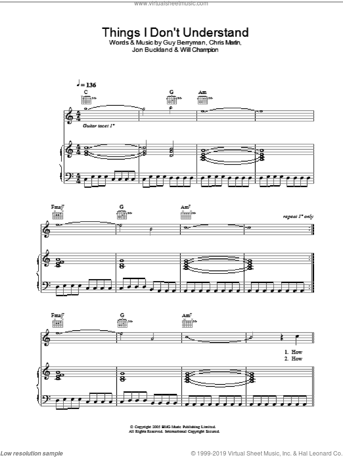Things I Don't Understand sheet music for voice, piano or guitar by Coldplay. Score Image Preview.
