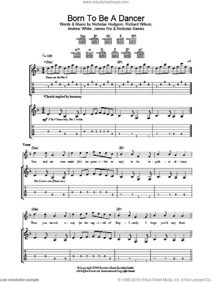 Born To Be A Dancer sheet music for guitar (tablature) by Richard Wilson, Andrew White and Nicholas Hodgson. Score Image Preview.