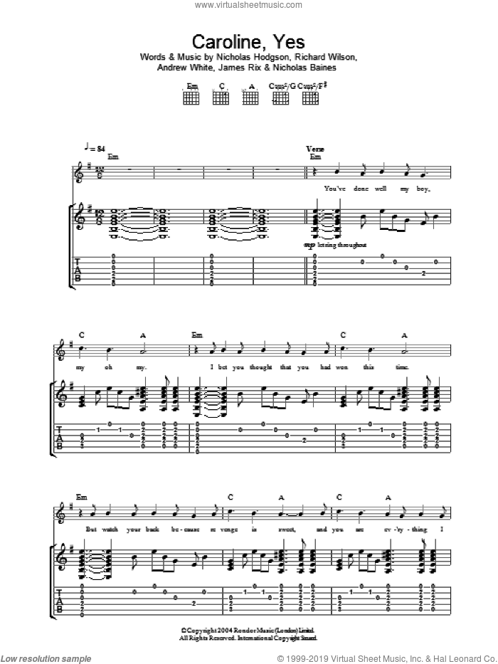 Caroline, Yes sheet music for guitar (tablature) by Richard Wilson, Andrew White and Nicholas Hodgson. Score Image Preview.