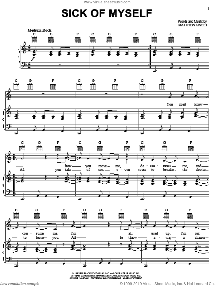 Sick Of Myself sheet music for voice, piano or guitar by Matthew Sweet. Score Image Preview.