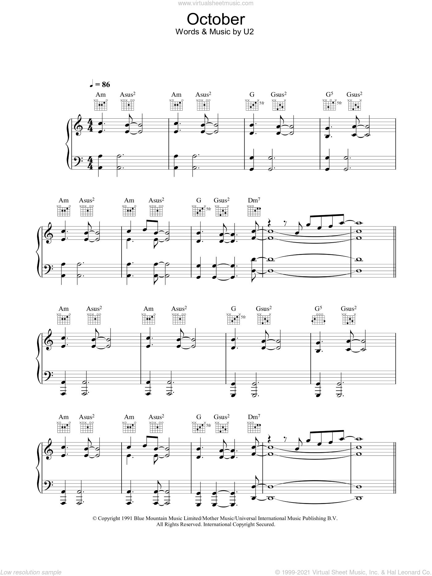 October sheet music for voice, piano or guitar by U2, intermediate. Score Image Preview.