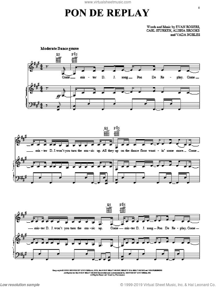 Pon De Replay sheet music for voice, piano or guitar by Rihanna, Alisha Brooks, Carl Sturken, Evan Rogers and Vada Nobles, intermediate skill level